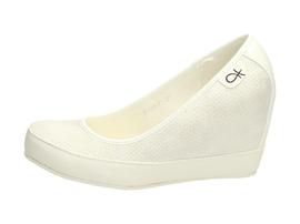 Białe czółenka damskie, koturny VICES 6199-41