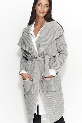 Sweter płaszczyk z paskiem ns21