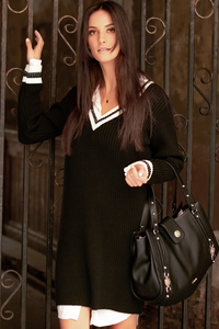Dzianinowa sukienka z ściągaczami ns69