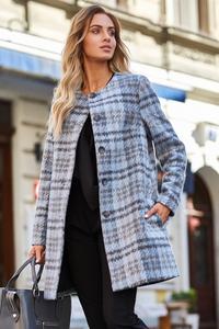 Klasyczny płaszcz w kratę s138