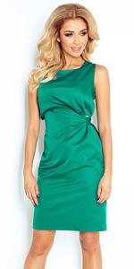 Sukienka z wiązaniem NUMOCO 126-3 - zieleń butelkowa