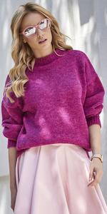 Sweter MAKADAMIA S63 - Fuksja melanż