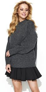 Sweter MAKADAMIA S63 - Grafitowy melanż