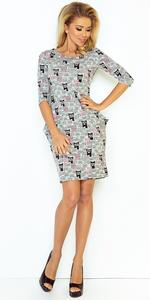 Sukienka z kieszeniami NUMOCO 40-10 - SZARY + RÓŻOWE KOTY