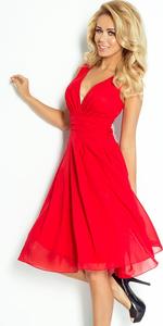 Sukienka NUMOCO 35-3 szyfonowa - CZERWONA