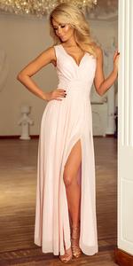 Sukienka NUMOCO MAXI 166-4 z rozcięciem - BRZOSKWINIA
