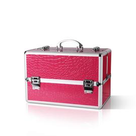 Kufer na akcesoria i kosmetyki - różowy krokodyl