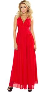 Sukienka NUMOCO MAXI z rozcięciem 166-2 MAXI CZERWONA